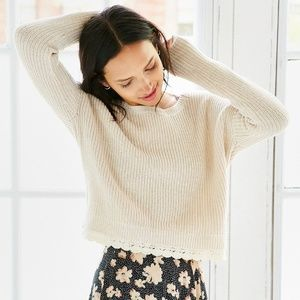Natural Lace Trim Cropped Sweater